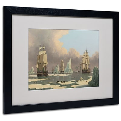 Trademark John Ward The Northern Whale Fishery Art, White Matte With Black Frame, 16 x 20