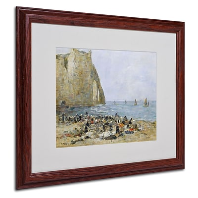 Trademark Eugene Boudin Washerwomen on the Beach Art, White Matte W/Wood Frame, 16 x 20