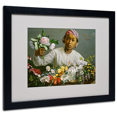Trademark Jean Frederic Bazille Woman with Peonies Art, White Matte With Black Frame, 16 x 20