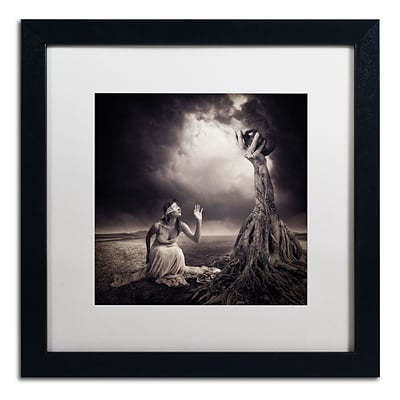 Trademark Erik Brede Is There Anybody Out There Art, White Matte W/Black Frame, 16 x 16