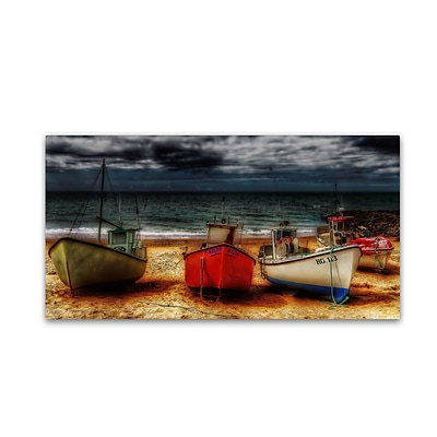 Trademark Erik Brede Resting Boats Gallery-Wrapped Canvas Art, 10 x 19