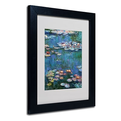 Trademark Claude Monet Waterlilies Classic Art, White Matte With Black Frame, 11 x 14