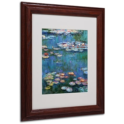 Trademark Claude Monet Waterlilies Classic Art, White Matte With Wood Frame, 11 x 14