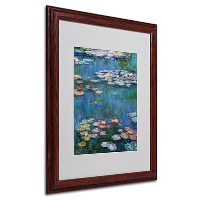 Trademark Claude Monet Waterlilies Classic Art, White Matte With Wood Frame, 16 x 20