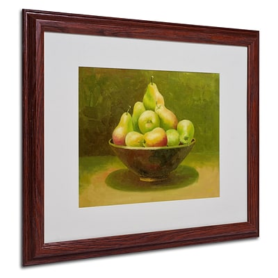 Trademark Rio Still Life with Pears Art, White Matte With Wood Frame, 16 x 20