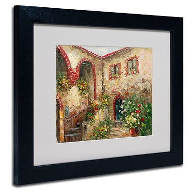 Trademark Rio Tuscany Courtyard Art, White Matte With Black Frame, 11 x 14