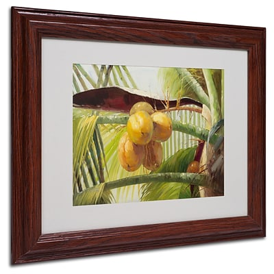 Trademark Victor Giton Coconut Palm I Art, White Matte With Wood Frame, 11 x 14