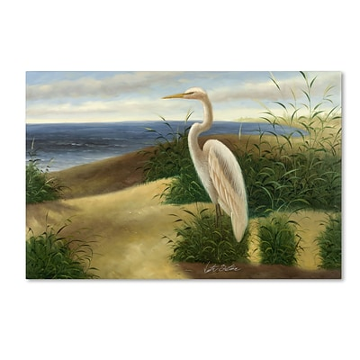 Trademark Victor Giton One Heron at the Beach Gallery-Wrapped Canvas Art, 12 x 19