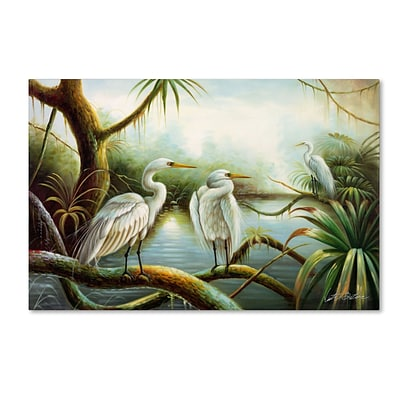 Trademark Victor Giton Three Herons Gallery-Wrapped Canvas Art, 30 x 47