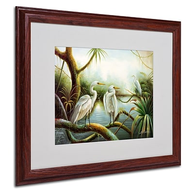 Trademark Victor Giton Three Herons Art, White Matte With Wood Frame, 16 x 20