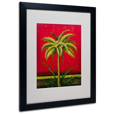 Trademark Victor Giton Tropical Palm I Art, White Matte With Black Frame, 16 x 20