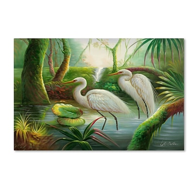 Trademark Victor Giton Two Herons Gallery-Wrapped Canvas Art, 22 x 32