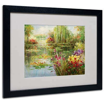 Trademark Victor Giton Water Lilies Art, White Matte With Black Frame, 16 x 20