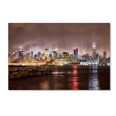 Trademark David Ayash Midtown Manhatten Over the Hudson... Gallery-Wrapped Canvas Art, 30 x 47
