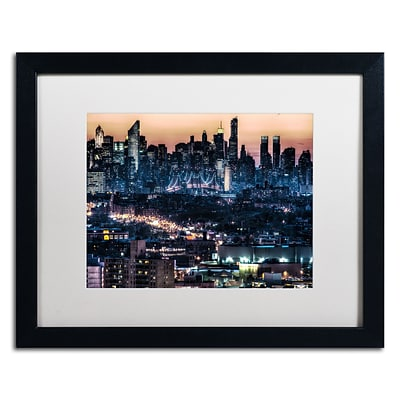 Trademark David Ayash Midtown and The Queensborough... Art, White Matte W/Black Frame, 16 x 20
