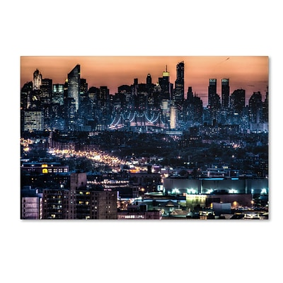 Trademark David Ayash Midtown and The Queensborough Bridge Gallery-Wrapped Canvas Art, 16 x 24