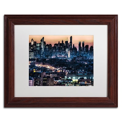 Trademark David Ayash Midtown and The Queensborough... Art, White Matte With Wood Frame, 11 x 14