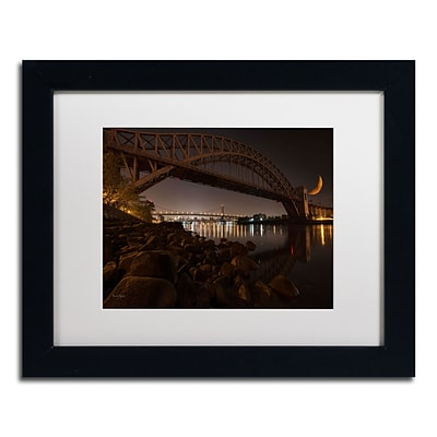 Trademark David Ayash Hells Gate Bridge and...NYC Art, White Matte With Black Frame, 11 x 14
