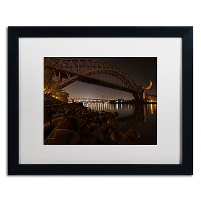 Trademark David Ayash Hells Gate Bridge and...NYC Art, White Matte With Black Frame, 16 x 20