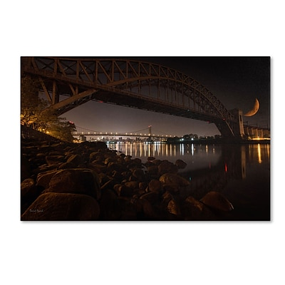 Trademark David Ayash Hells Gate and RFK Bridge - NYC Gallery-Wrapped Canvas Art, 22 x 32