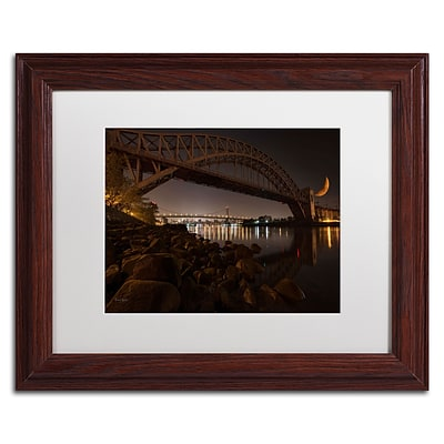 Trademark David Ayash Hells Gate Bridge and...NYC Art, White Matte With Wood Frame, 11 x 14