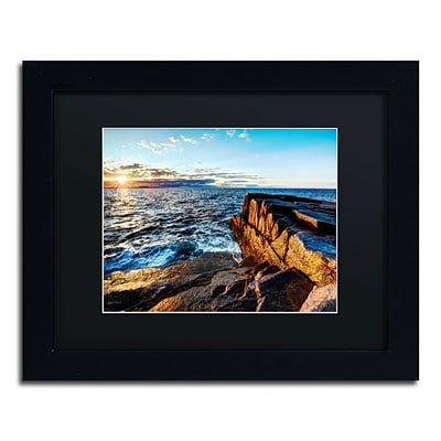 Trademark David Ayash Sunrise Over the Atlantic in Maine Art, Black Matte W/Black Frame, 11 x 14