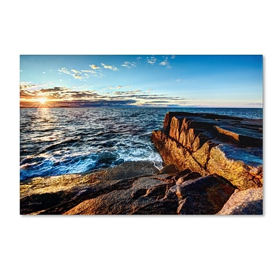 Trademark David Ayash Sunrise Over the Atlantic in Maine Gallery-Wrapped Canvas Art, 12 x 19