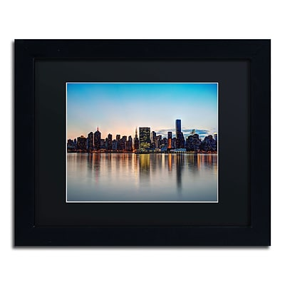 Trademark David Ayash Midtown NYC Over the East River-I Art, Black Matte W/Black Frame, 11 x 14