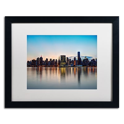 Trademark David Ayash Midtown NYC Over the East River-I Art, White Matte W/Black Frame, 16 x 20
