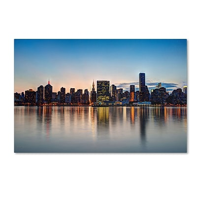 Trademark David Ayash Midtown NYC Over the East River-I Gallery-Wrapped Canvas Art, 16 x 24