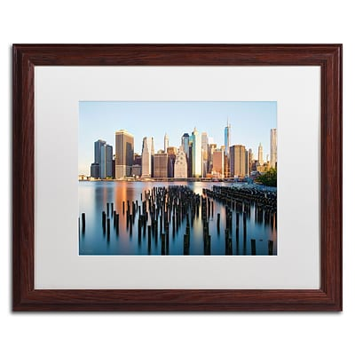 Trademark David Ayash Brooklyn Bridge Park and... - I Art, White Matte W/Wood Frame, 16 x 20