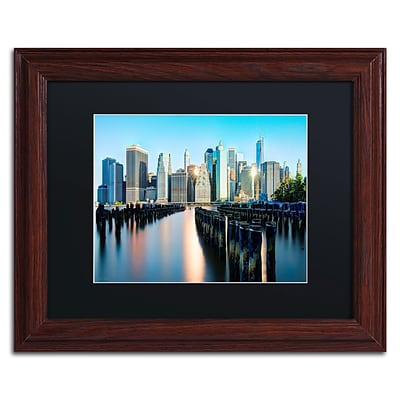 Trademark David Ayash Brooklyn Bridge Park and... - II Art, Black Matte W/Wood Frame, 11 x 14