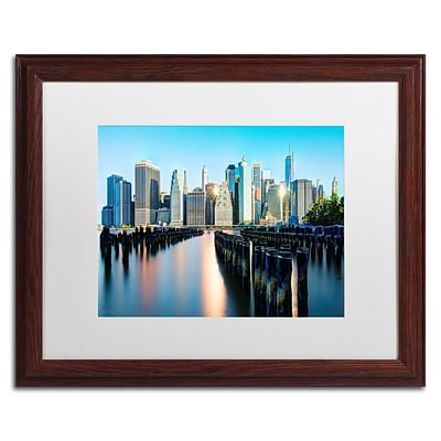 Trademark David Ayash Brooklyn Bridge Park and... - II Art, White Matte W/Wood Frame, 16 x 20