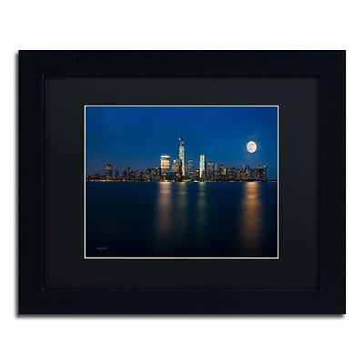 Trademark David Ayash Supermoon Rise Over Downtown - NYC Art, Black Matte W/Black Frame, 11 x 14