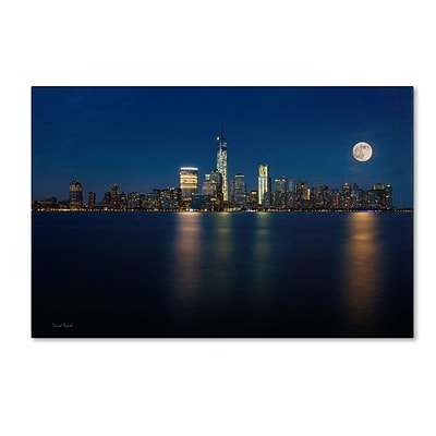 Trademark David Ayash Supermoon Rise Over Downtown - NYC Gallery-Wrapped Canvas Art, 30 x 47