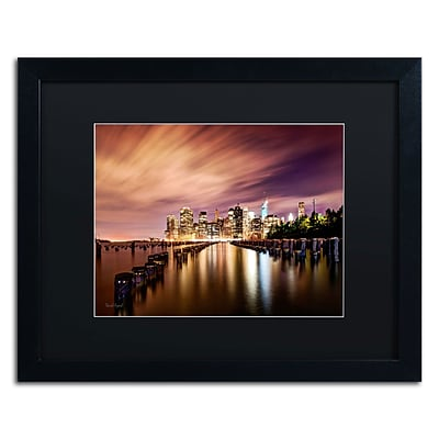 Trademark David Ayash Brooklyn Bridge Park and... - V Art, Black Matte W/Black Frame, 16 x 20