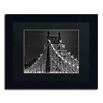 Trademark David Ayash Queensborough Bridge Art, Black Matte With Black Frame, 11 x 14