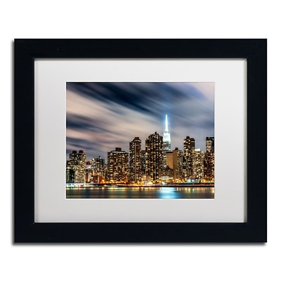 Trademark David Ayash Midtown Over the East River-V Art, White Matte With Black Frame, 11 x 14