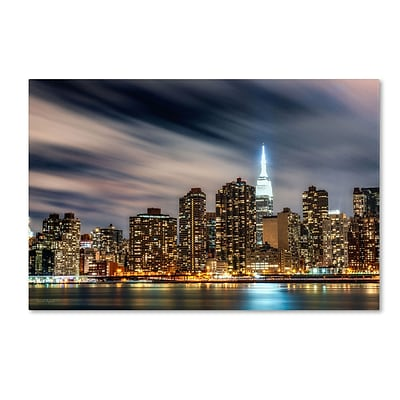 Trademark David Ayash Midtown Over the East River-V Gallery-Wrapped Canvas Art, 16 x 24