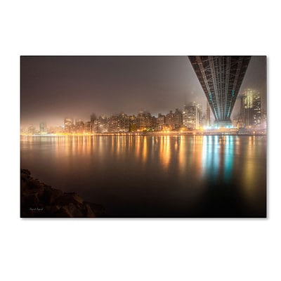 Trademark David Ayash Fog Under the Queensborough... Gallery-Wrapped Canvas Art, 16 x 24