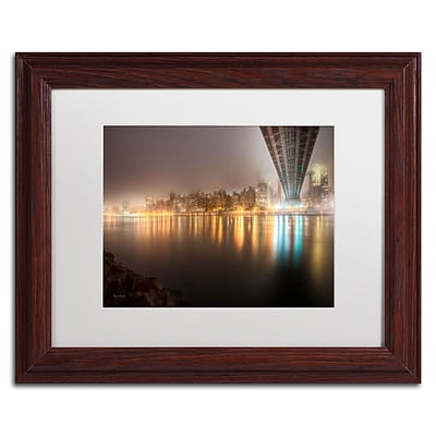 Trademark David Ayash Fog Under the Queensborough... Art, White Matte With Wood Frame, 11 x 14