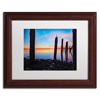 Trademark David Ayash Jamaica Bay Sunset - NYC I Art, White Matte With Wood Frame, 11 x 14