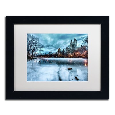 Trademark David Ayash Frozen Central Park Lake II Art, White Matte With Black Frame, 11 x 14