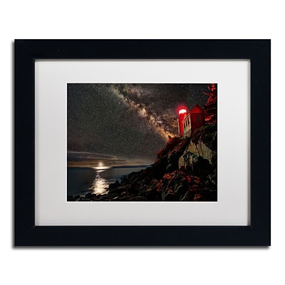Trademark David Ayash Bass Harbor Lighthouse - Maine Art, White Matte With Black Frame, 11 x 14