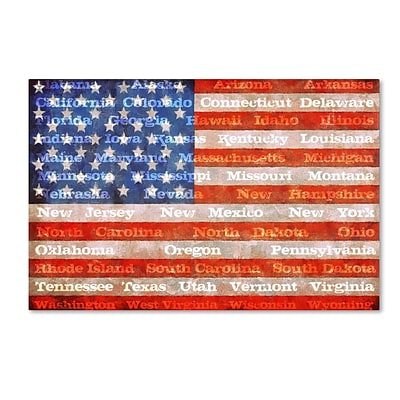 Trademark Michelle Calkins American States with Flags Gallery-Wrapped Canvas Art, 22 x 32