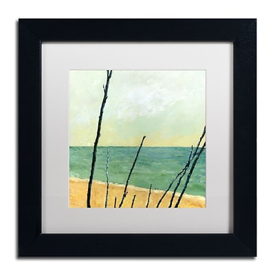 Trademark Michelle Calkins Branches on the Beach Art, White Matte With Black Frame, 11 x 11