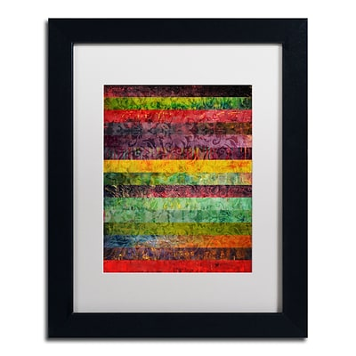 Trademark Michelle Calkins Brocade and Stripes 2 Art, White Matte With Black Frame, 11 x 14