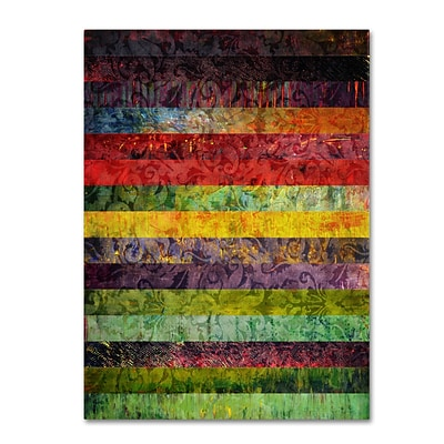 Trademark Michelle Calkins Brocade and Fifteen Stripes 3 Gallery-Wrapped Canvas Art, 24 x 32