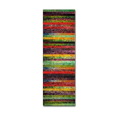 Trademark Michelle Calkins Brocade and Stripes Tower 2 Gallery-Wrapped Canvas Art, 10 x 32