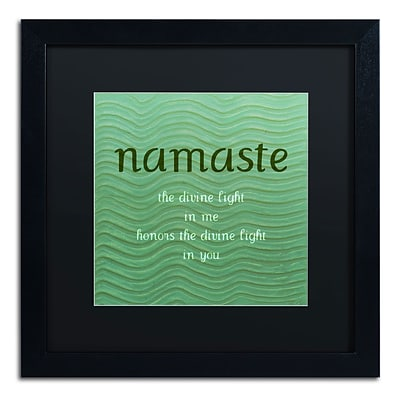 Trademark Michelle Calkins Namaste with Blue Waves Art, Black Matte With Black Frame, 16 x 16